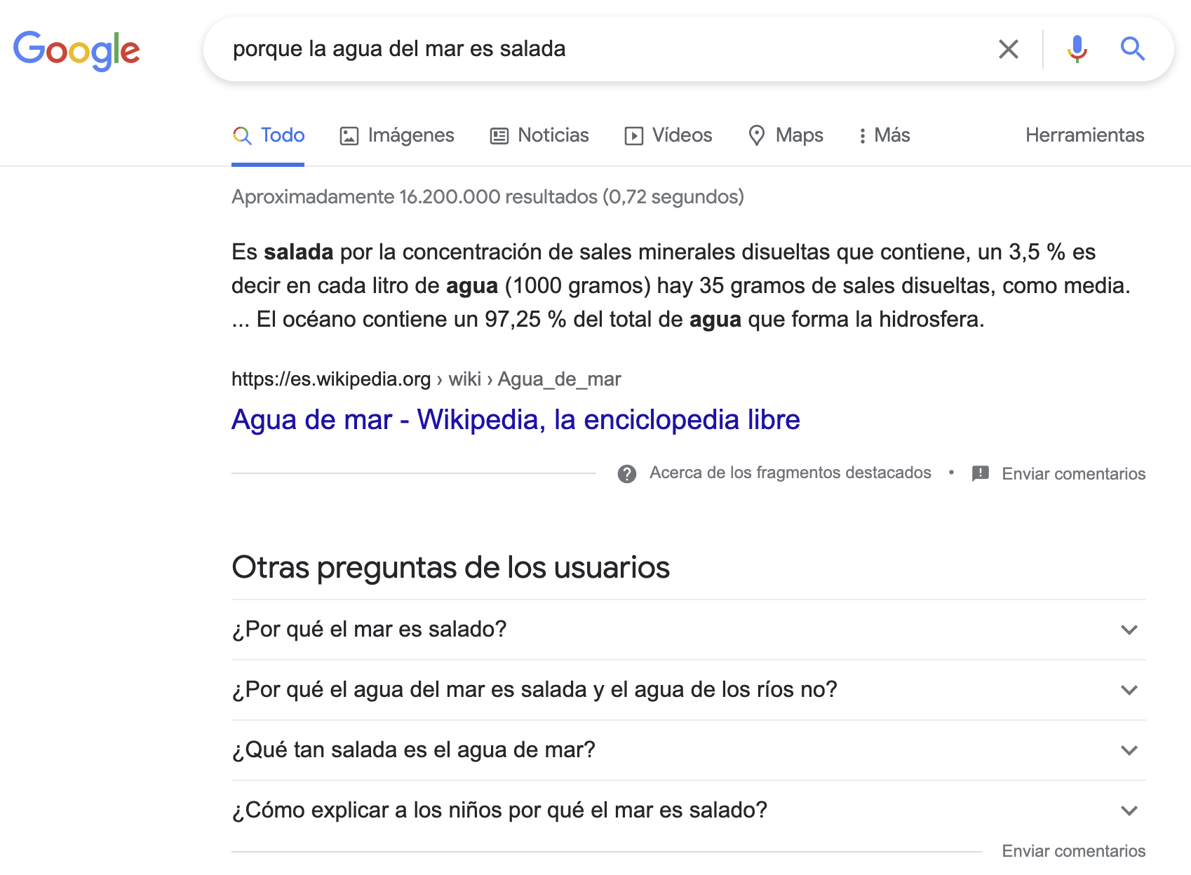 ejemplo featured snippet google